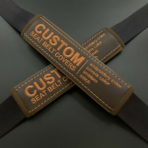 Custom Dark Brown seat belt pads Covers with custom embroidery any color 2pcs