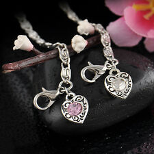 NEW Women Girl Simple Style Crystal Rhinestone Love Heart Pearl Pendant Bracelet