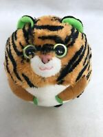"Ty Beanie Ballz 5"" Monaco Tiger Plush Stuffed Animal Ball Green Eyes Retired"