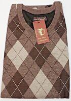 St Patrick Mens Sweater Vest Brown Argyle Front Solid Back V-neck 4XL Big & Tall