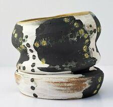Handmade Studio Art White and Black Pottery Ceramic Modern Vase w/ Scraffito