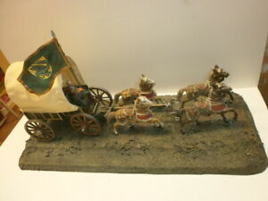 Mittelalter-Diorama Figurenkobold mit Elastolin Kampfwagen + 4 Ritterpferde 7cm