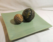"Home Decor Crate & Barrel Green 12"" Square Plate Ornate Wood Balls Centerpiece"