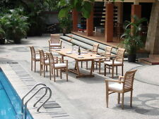 "Sam Grade-A Teak Wood 9pc Dining 94"" Mas Rectangle Table Stacking Arm Patio Set"