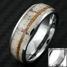 Engraved 8mm Tungsten Men's Deer Antler Hawaiian Koa Wood Wedding Band Ring