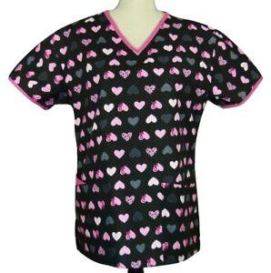 Nursing PSW Uniform Scrubs Smock Top Hearts & Pink Ribbons Black Pink Small NEW