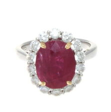 18K WHITE & YELLOW GOLD NATURAL OVAL SHAPE RUBY & DIAMOND RING 5.41 CTS. EGL