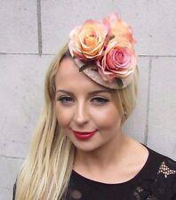 Beige Blush Pink Rose Flower Fascinator Teardrop Races Clip Wedding Vtg 3395