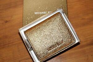 NWB Michael Michael Kors Leather Money Pieces Flap Card Holder Wallet - Gold