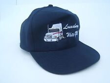 Lounsbury White GMC Transport Truck Hat Vintage Dark Blue Strapback Baseball Cap
