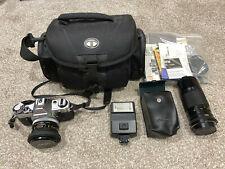 Canon AE-1 Program 35mm SLR Camera w/ FD 50mm + 150mm + Flash + Cases