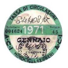 ADESIVO VESPA / LAMBRETTA TASSA CIRCOLAZIONE 1971