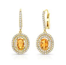 14K Yellow Gold Citrine Diamond Oval Earrings Drop Dangle Orange Natural 2.69TCW