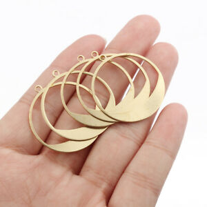 20Pcs Raw Brass Open Round Charms Pendants DIY Jewellery Necklace Earring Making