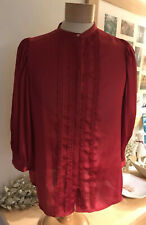 Jaspe Conran Red Collarless Blouse Size 12