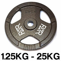"FXR SPORTS TRI GRIP IRON STANDARD WEIGHT DISC PLATES WEIGHTS GYM - 25MM 1"" HOLE"