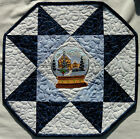 Handcrafted Quilted Table Runner Topper- WINTER SOLITUDE SNOWGLOBE WREATH HOUSE
