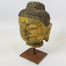 Vintage Metal Buddha Head Statue - Very Heavy, Rustic, and Unique