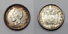 ECUADOR 1902 LIMA JF 1/2 DECIMO MONEDA PLATA PÁTINA PRECIOSA EBC/EBC+
