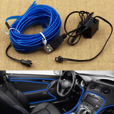 Universal Blue 5m Car Interior Neon Strip Atmosphere Decor Light LED USB Port