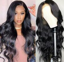 Black Loose Body Wave Brazilian Human Hair Full Wig Lace Front Wig Pre Plucked