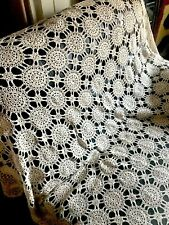 """Tablecloth Vintage Crochet Cotton Lace Table Cloth TEA STAINED SHABBY 68x86"""""""