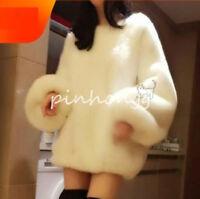 Faux-Pelz Rundhals Pullover Mäntel Fashion Winter Hüftlange Sweatshirt Damenmode