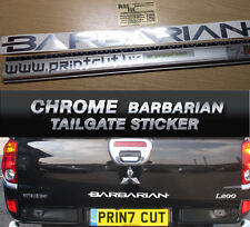 Chrome Mitsubishi L200 Warrior Barbarian Rear Tailgate Decal Sticker Warrior