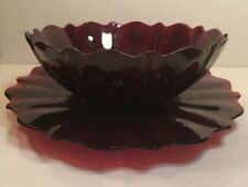 Anchor Hocking Oyster & Pearl Royal Ruby Red Bowl and Platter Underplate Set