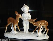 ^^Alte Gräfenthal Thüringen Porzellan Figur Figuren Junge mit 2 Rehe