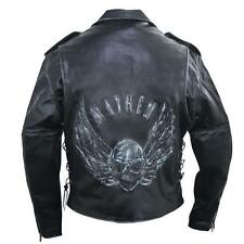 Mens Premium Black Distressed Leather Jacket with Embossed Flying Skull Armoured