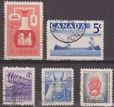 (Q3-83) 1956 Canada mix of 5 4c, 5c x3 &25c $5.00