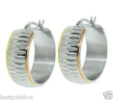 "1"" Diamond Cut Hoop Earrings TriColor Gold Clad Stainless Steel by Design QVC"