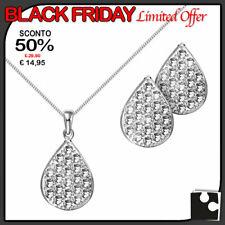 Black friday Conjunto Collar y Pendientes Mujer Plata 925 Cadena con Colgante