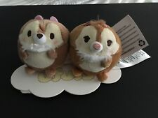 Disney Store Ufufy Chip And Dale Mini Set, New With Stand And Tags