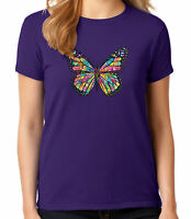 Neon Butterfly Ladies T-shirt Cute Rainbow Colors Butterfly Women's Tee - 1594C