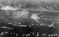 WWII photo American amphibious boats approaching the shore of Iwo Jima 36i