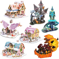 Christmas 3D DIY Puzzle House Model Assembling Paper Toy Cartoon Home Jigsaw UK