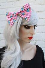 Big Pink Gingham Hair Bow Rockabilly Vintage 50's Style Gothic Lolita Kawaii