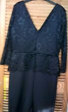 black fitted dress v neck pencil skirt sz 12 George lace sleeves /top sexy party