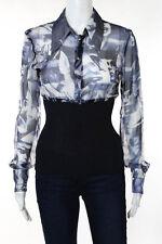 John Richmond Blue Silk Graphic Button Long Sleeve Blouse Size 8