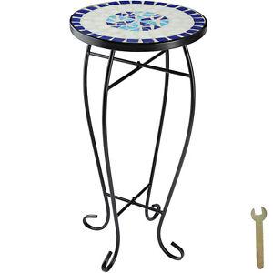 Tavolino da balcone Mosaico Tavolo Giardino Caffe Portafiori Tondo Blu-Bianco nu