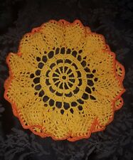 Handmade Vintage Orange and Yellow Round Crocheted Doilie. 27cm.