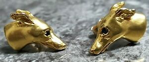 18CT GOLD GREYHOUND / WHIPPET STUD EARRINGS. BOXED.  REF XBBOD