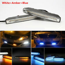 2Pcs White+Amber+Blue LED Auto Car Daytime Running Light DRL Fog Turn Signal 12V