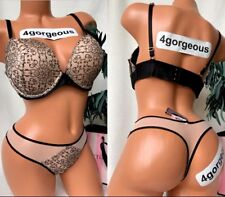 Victorias Secret 36d L Embroidered Banded Very Sexy Push Up Beige Black Bra Set