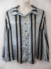 Maggie Barnes WOMENS 26W (3X) Polyester Black, Gold Striped Shirt Blouse Top