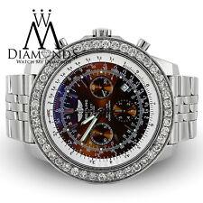 Breitling for Bentley Motors A15362 Stainless Steel Watch 9.00Ct Diamonds Bezel