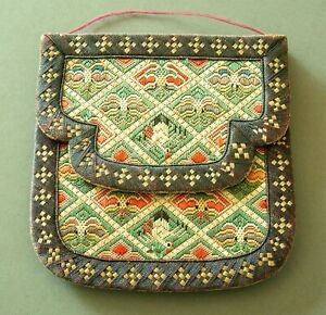 ANTIQUE QING DYNASTY CHINESE EMBROIDERED SILK PURSE EXTREMELY UNUSUAL