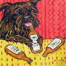 Affenpinscher at the bar beer ceramic art coaster tile gifts 6x6